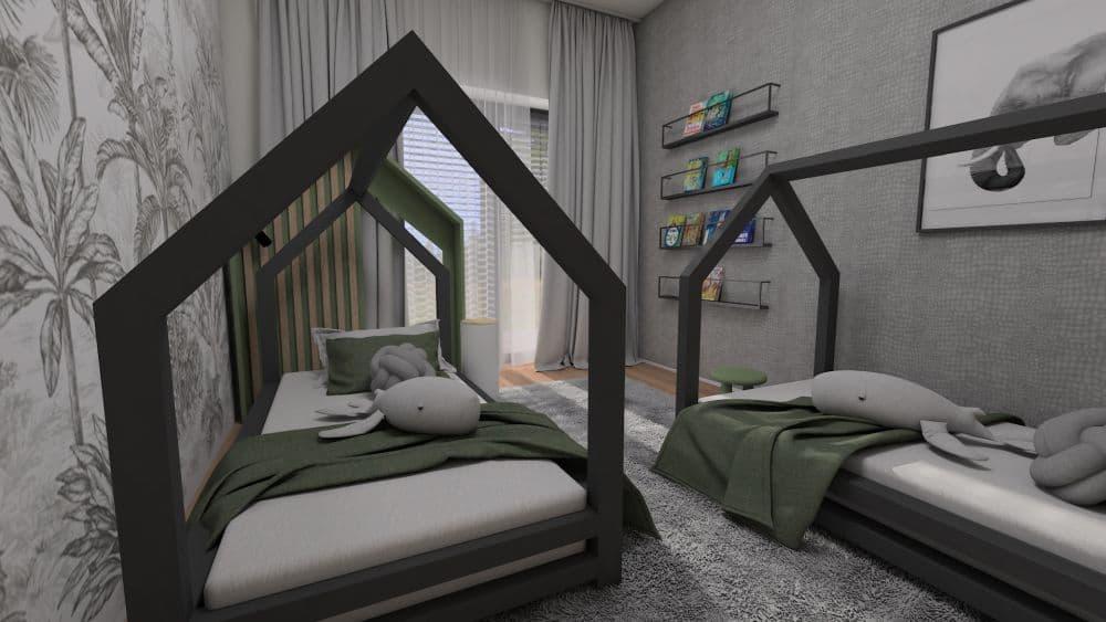 3D návrh dětského pokoje a herny pro 2 chlapce slide 1