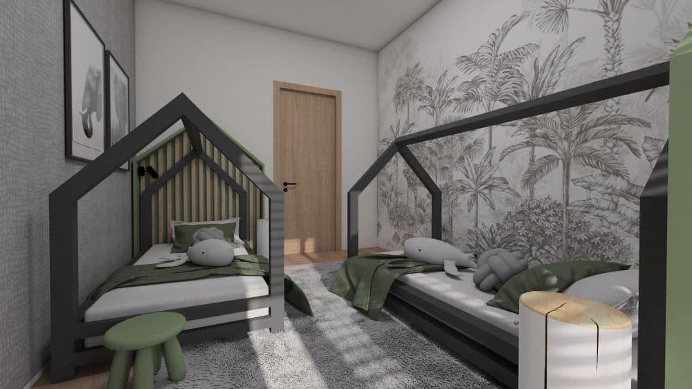 3D návrh dětského pokoje a herny pro 2 chlapce slide 0