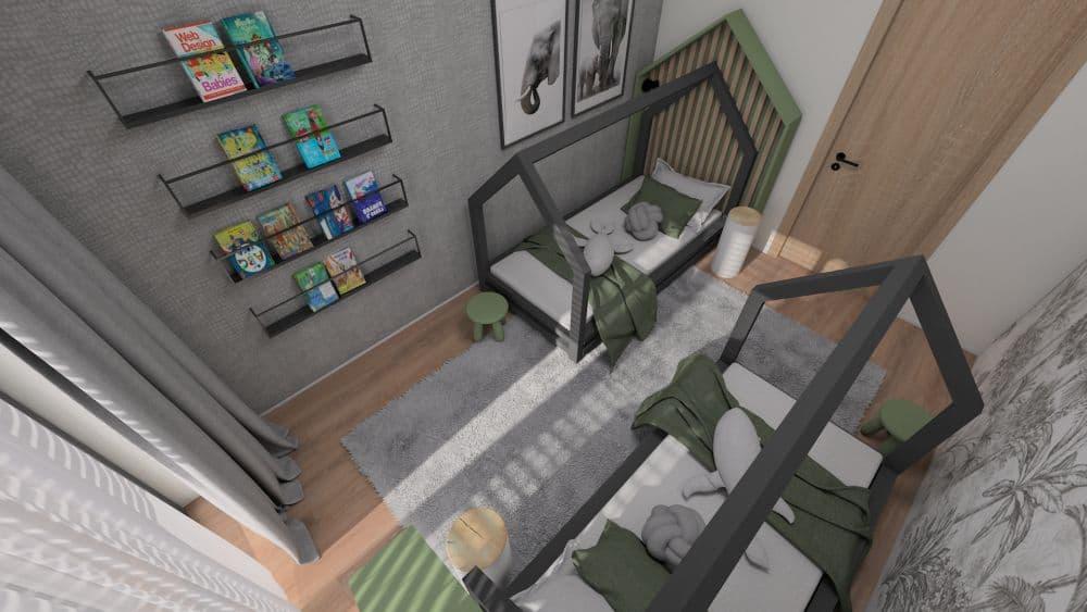 3D návrh dětského pokoje a herny pro 2 chlapce slide 2