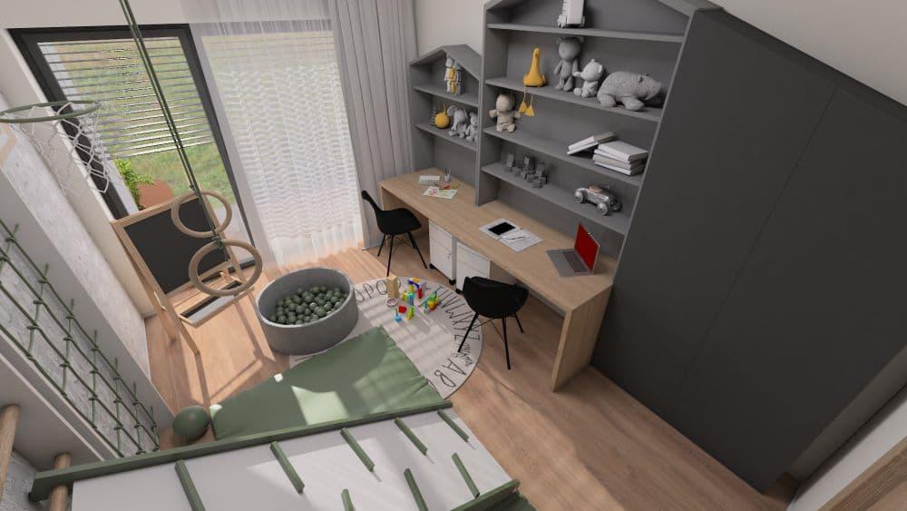 3D návrh dětského pokoje a herny pro 2 chlapce slide 4