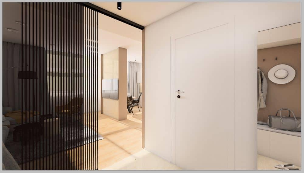 Vizualizace pánského bytu s moderním interiérem slide 1