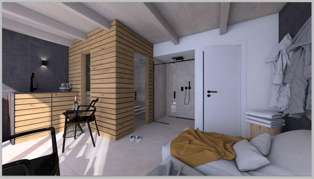 Vizualizace wellness domku na zahradě u rodinného domu slide 1