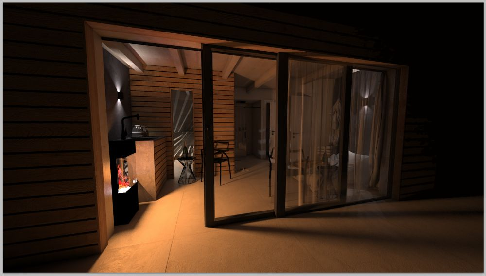 Vizualizace wellness domku na zahradě u rodinného domu slide 0