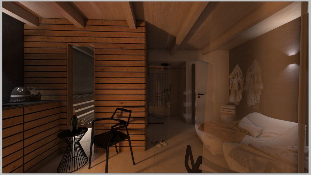 Vizualizace wellness domku na zahradě u rodinného domu slide 4