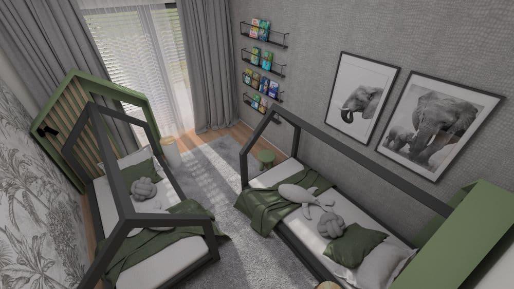 herna a dětský pokoj 3D návrh fridrichová kaštanová