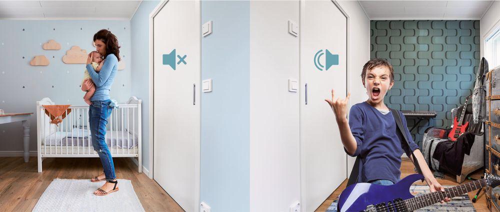 Pracovna - posuvné akustické dveře