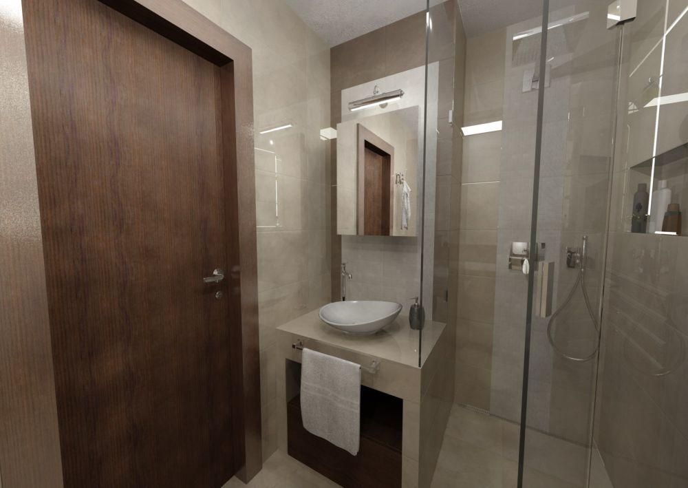 Návrh malé koupelny v hřejivých tónech