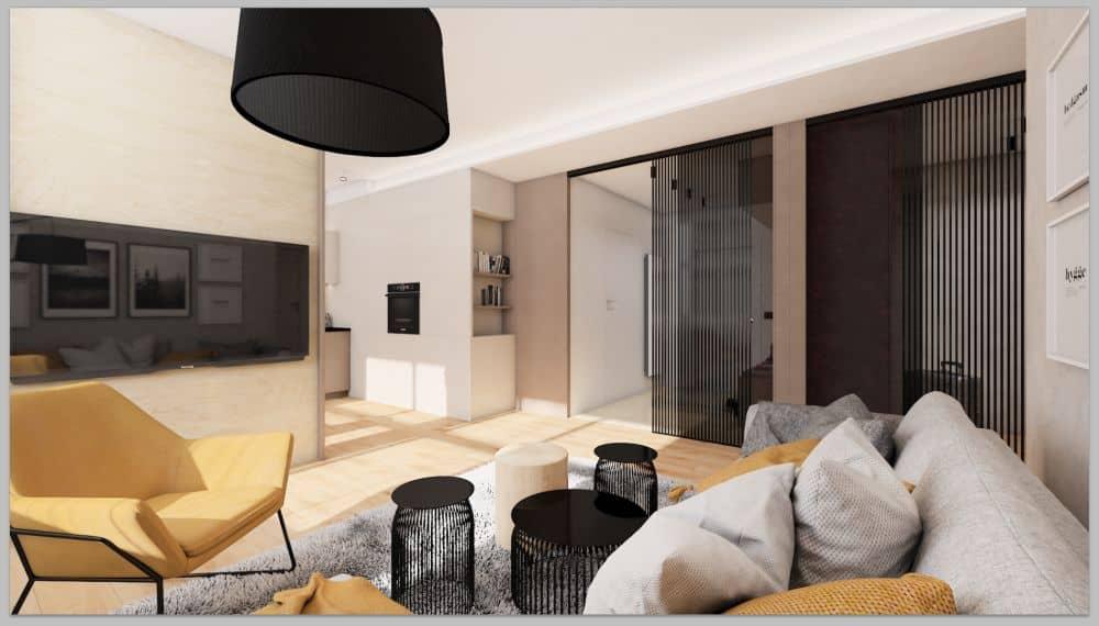 vizualizace pánského bytu