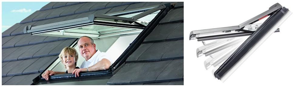 ROTO výsuvně kyvné střešní okno
